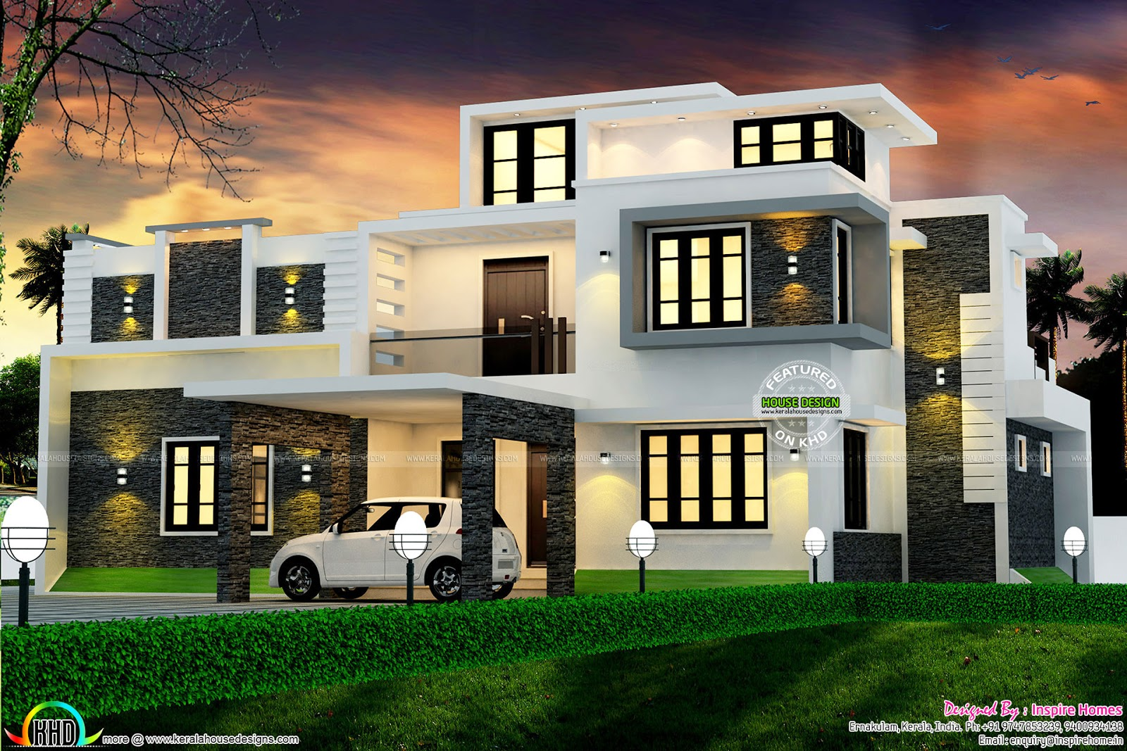 Modern box type 2700 sq ft home kerala home design and for Modern box house design