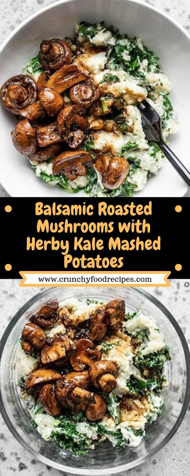 Balsamic Roasted Mushrooms with Herby Kale Mashed Potatoes