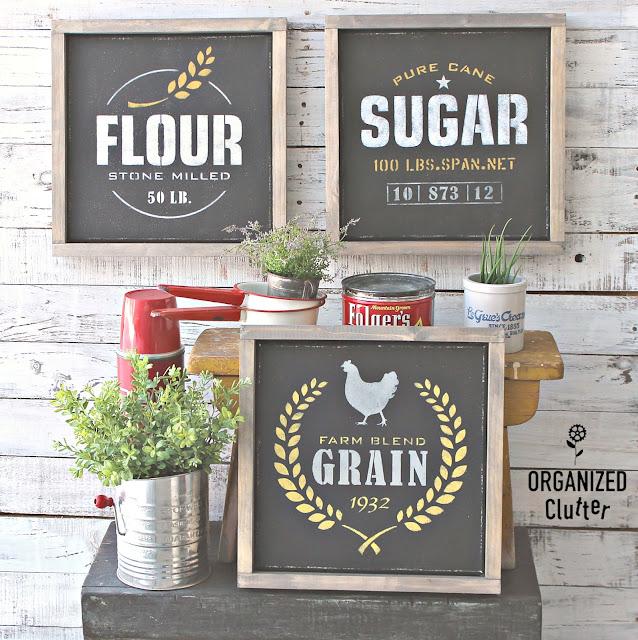 Framed Stenciled Canvas Farmhouse Kitchen Decor #oldsignstencils #stencil #dixiebellepaint #farmhousedecor #stenciledcanvases #framedcanvas