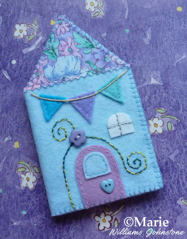 Simple and easy cute house design needlebook case holder instructions and step by step photo tutorial by CraftyMarie