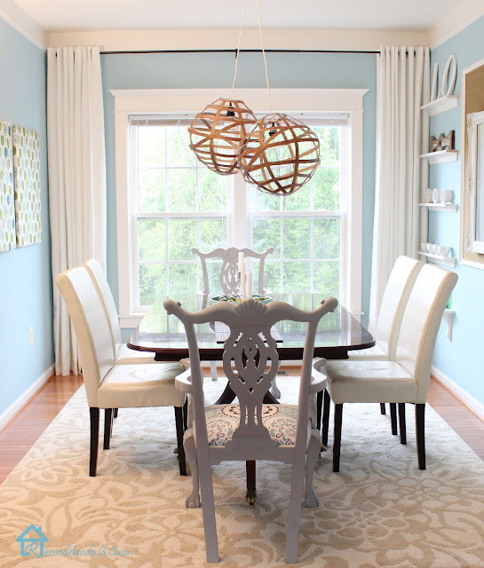 light blue dining room, white parson chairs, Mohawk rug, painted chippendale chairs, white curtains