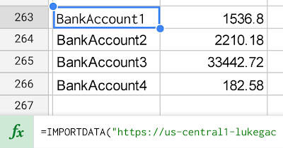 With a simple importdata function, my bank account balances are loaded into Google Sheets