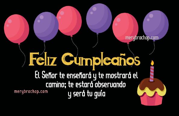 imagen con versiculo mensaje cristiano de cumpleaños amiga tarjeta con globos y pastel
