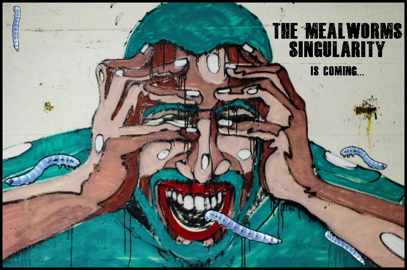"""The poster of """"The Mealworms Signularity"""" movie (by @sciencemug)"""