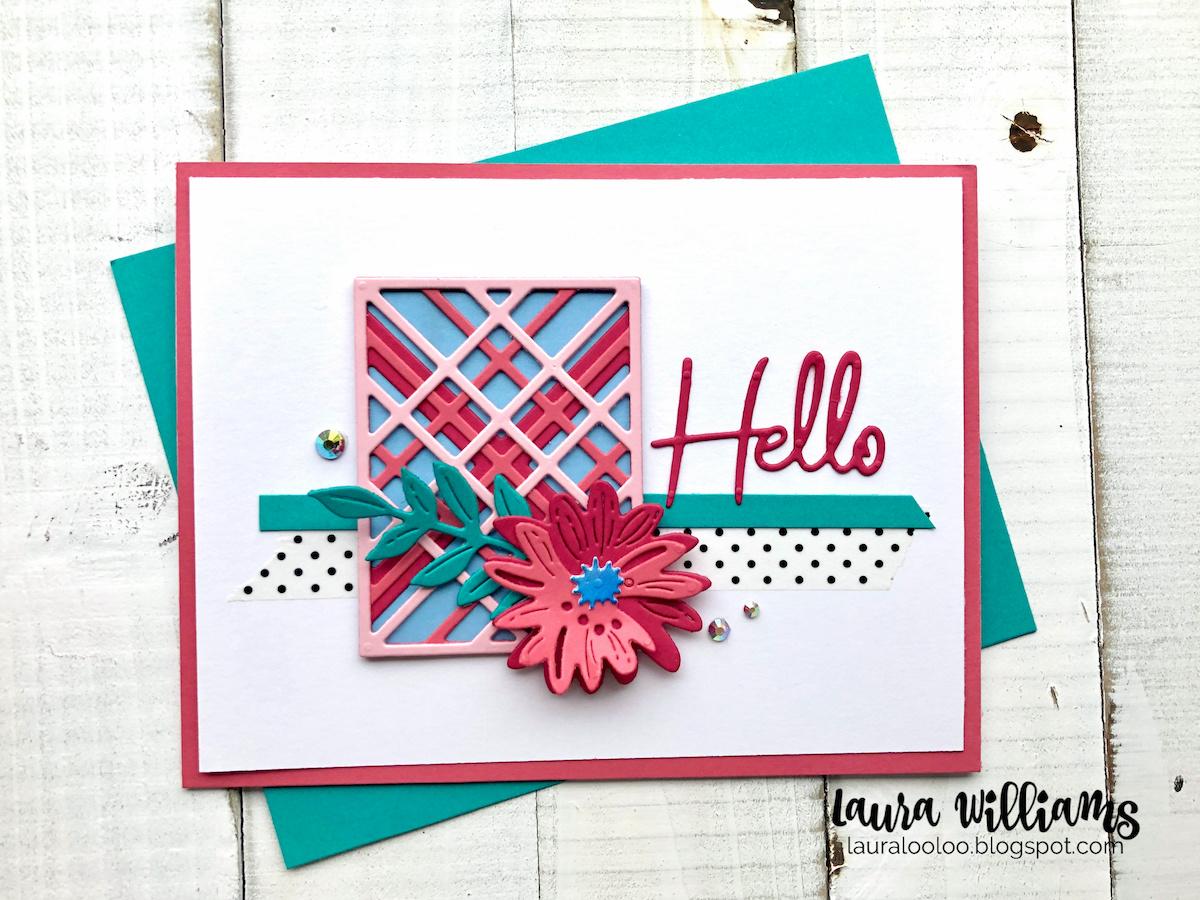 Make a handmade Hello card with Spellbinders Kaleidoscope Plaid Die Set and flower dies + sentiments