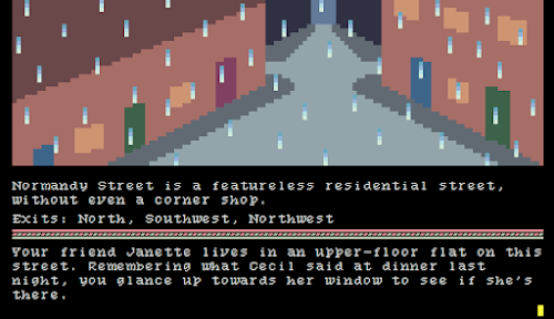 screenshot from pre-marie showing a rainy street