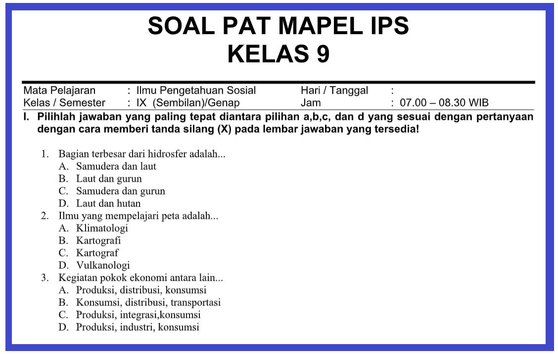 gambar soal pat IPS kelas 9 2021