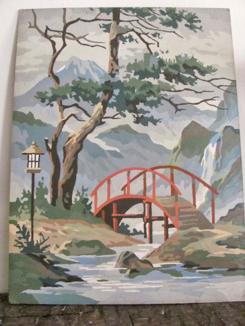 paint by number vintage painting of a mountain and bridge