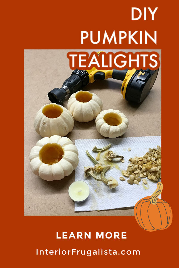 How to turn real mini pumpkins into tealight candle holders for fall by Interior Frugalista plus tips for how to preserve the pumpkin stems to use for future fall crafts. #pumpkincrafts #pumpkincarving