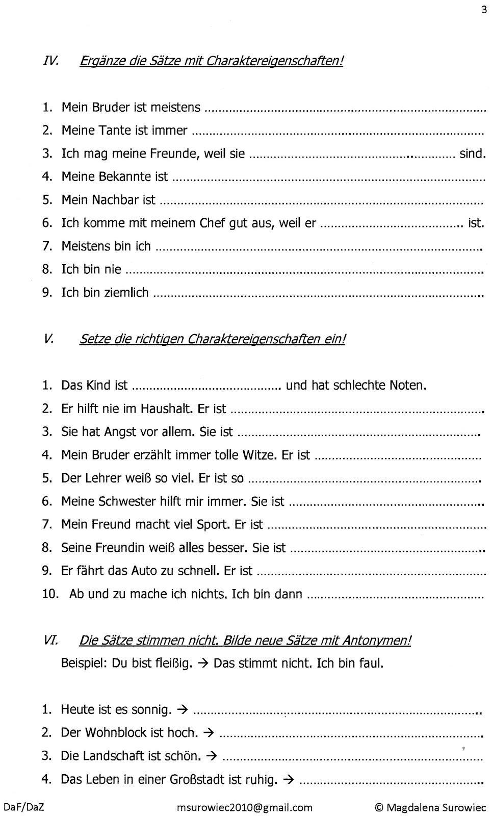 aspekte der germanistik bungen zu antonymen a1. Black Bedroom Furniture Sets. Home Design Ideas