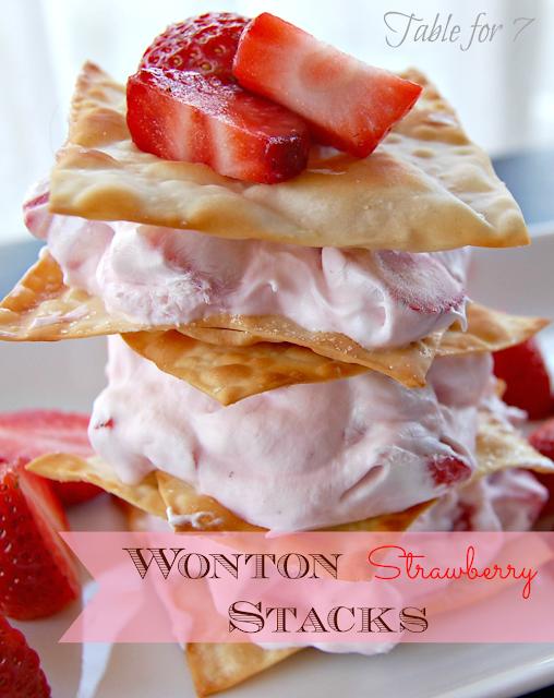 Wonton Strawberry Stacks