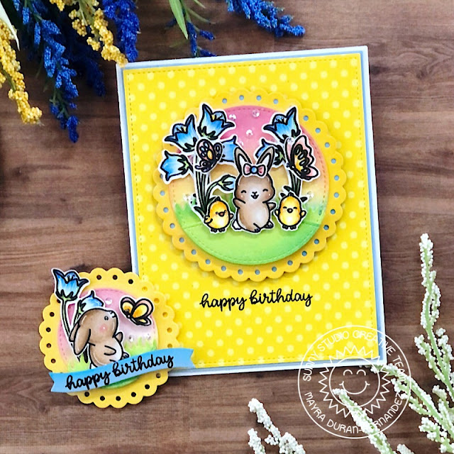 Sunny Studio Stamps: Scalloped Circle Mat Dies Garden Fairy Chubby Bunny Birthday Card by Mayra Duran-Hernandez