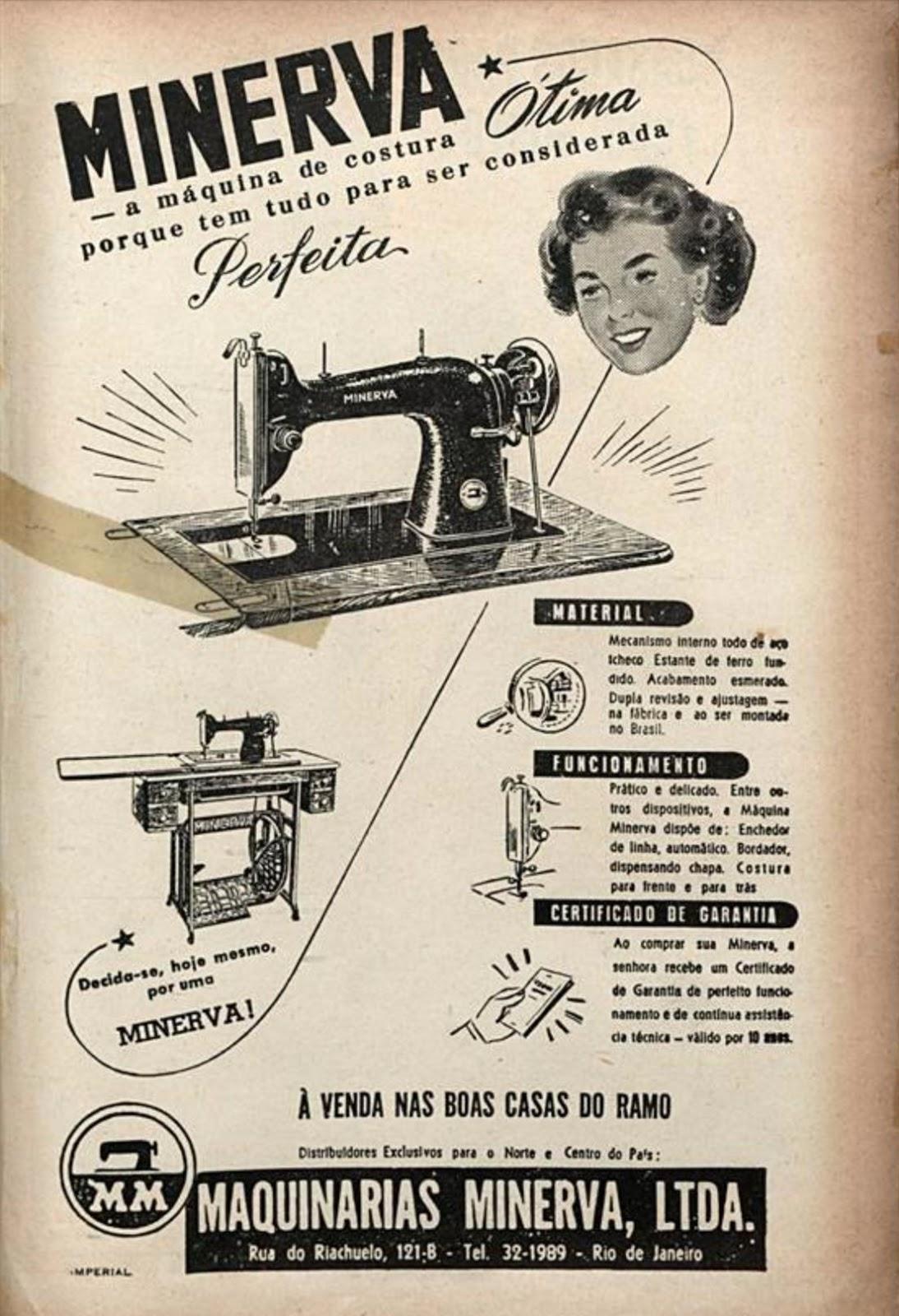 Propaganda antiga da Minerva apresentando sua máquina de costura em 1951