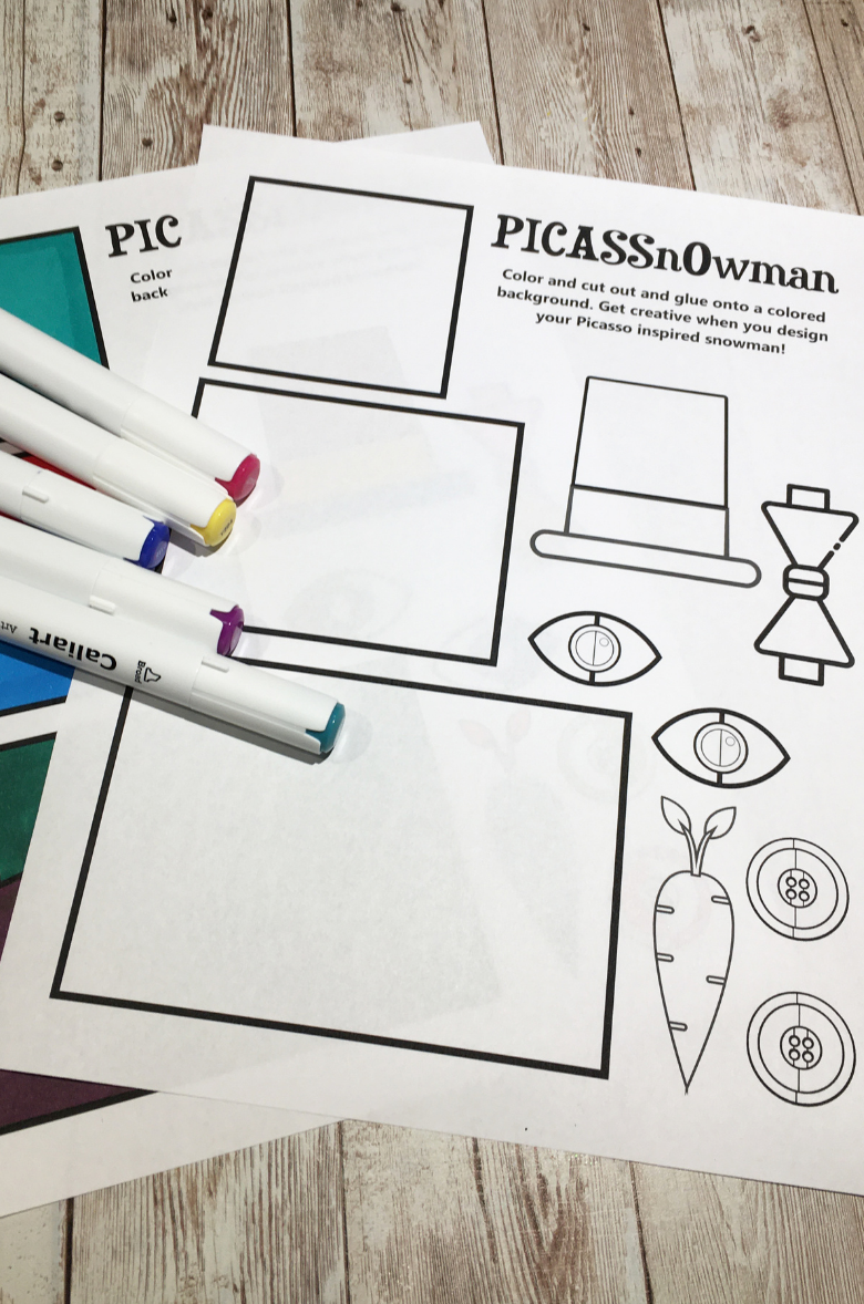 Picasso art for kids snowman template
