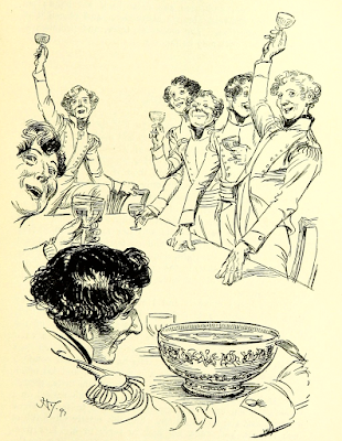 Drinking to Isabella Thorpe   Northanger Abbey by Jane Austen (1817) Illustration by Hugh Thomson (1897)