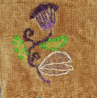 Close-up of the stitched design