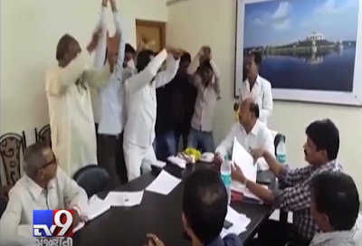 Protesting delay in a road construction work, a group of NCP workers performed 'Nagin Dance' in front of senior PWD officials at Buldhana, Maharashtra.  Nagin or snake dance, a popular dance in Bollywood films, is usually performed by sensuous actresses.  A video, which has since gone viral, shows a group of NCP workers barging into a  meeting of PWD officials at Buldhana, about 500 km away from Mumbai.