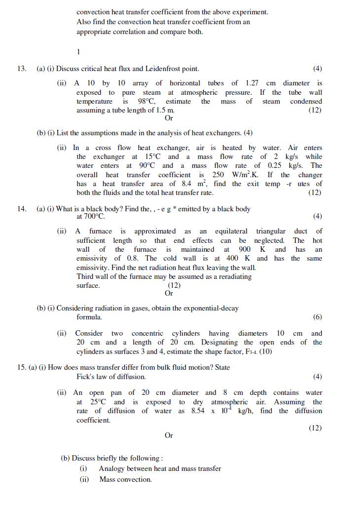 ME6502 / ME2251 Heat and Mass Transfer Nov Dec 2011 Question