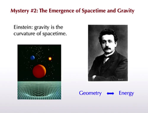 "General relativity is a classical equating of geometry & energy (Source: Sean Carroll, ""Mysteries of Modern Physics"")"