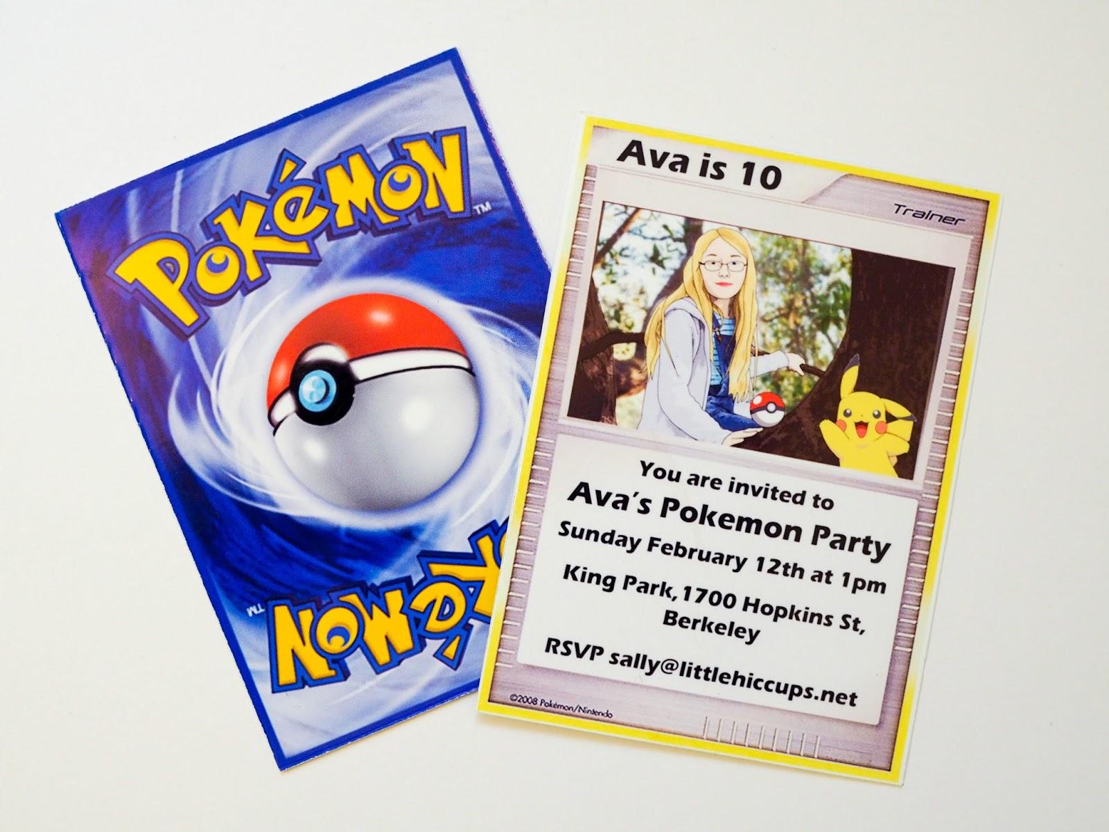 little hiccups pokémon party invitations