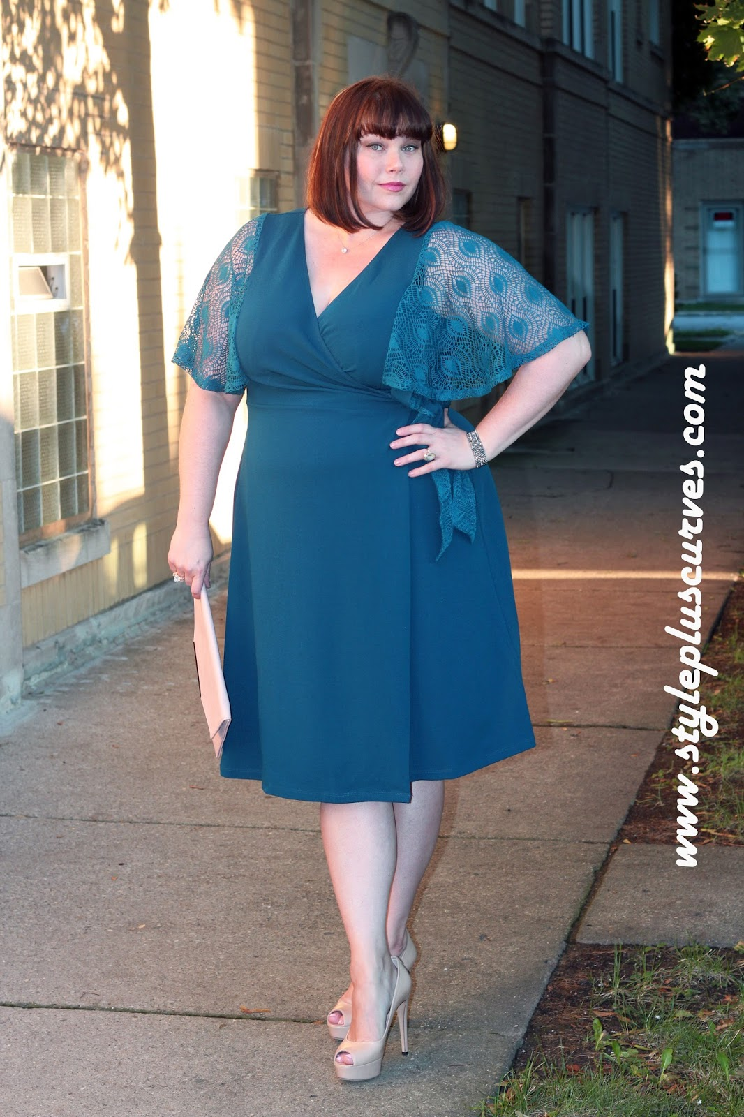 Plus Size Wrap Dress In Peacock Blue From Kiyonna Style