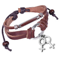 Leather & Copper Wristlet w/ Hanging Female Symbol Charms - Brown Lesbian Pride Bracelet