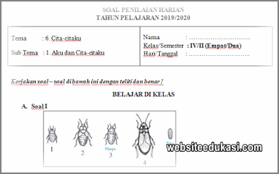 Soal PH Kelas 4 Semester 2 K13 Tahun 2019/2020