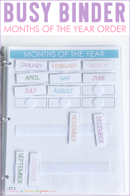 Months of the Year Order Busy Binder