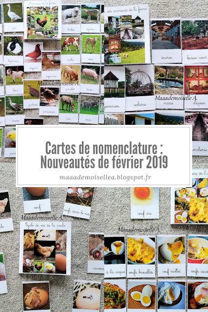 Cartes de nomenclature : Nouveautés de février 2019