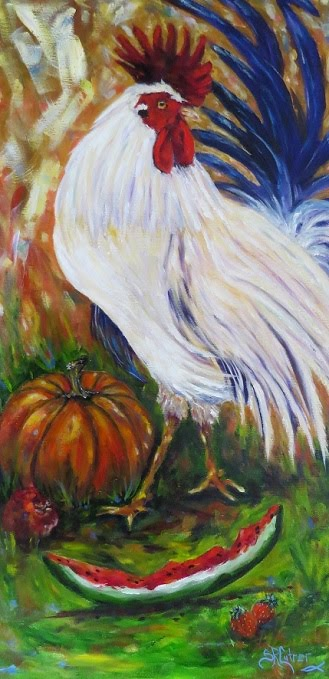 Rooster with pumpkin,watermelon,apple oils on canvas