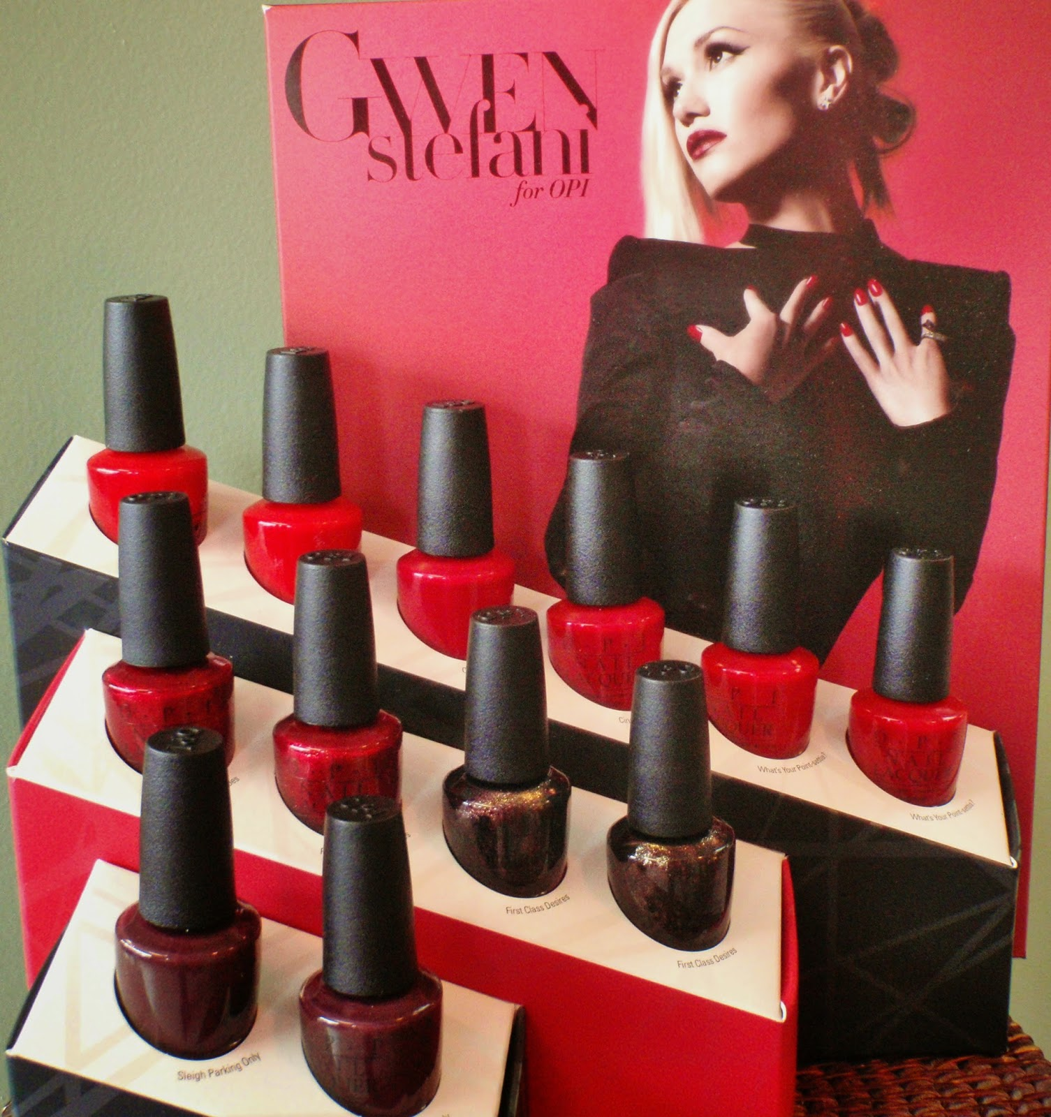 opi gwen stefani collection reds display
