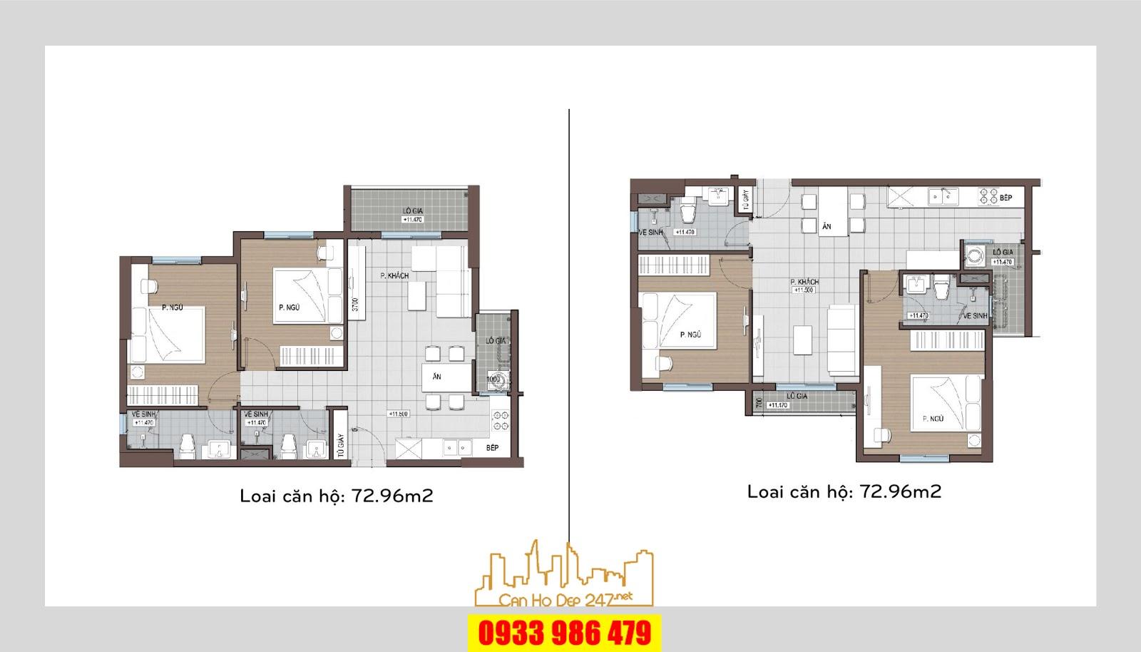 Loại căn hộ có diện tích từ 72m2 có thiết kế rất thoáng và sang trọng