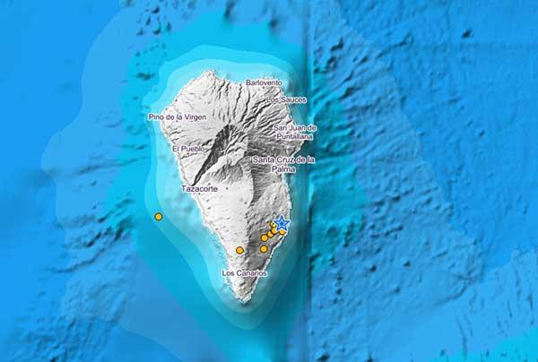 Desde el pasado sábado se están registrando varios terremotos en el sur de La Palma, El Pueblo, Los Canarios, Tazacorte