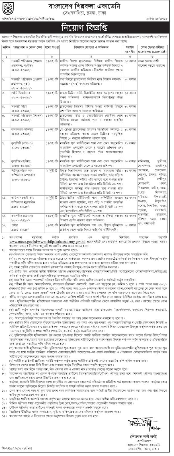 Bangladesh Shilpakala Academy Job Circular 2018