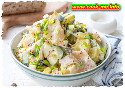 Potato salad with salted fishes