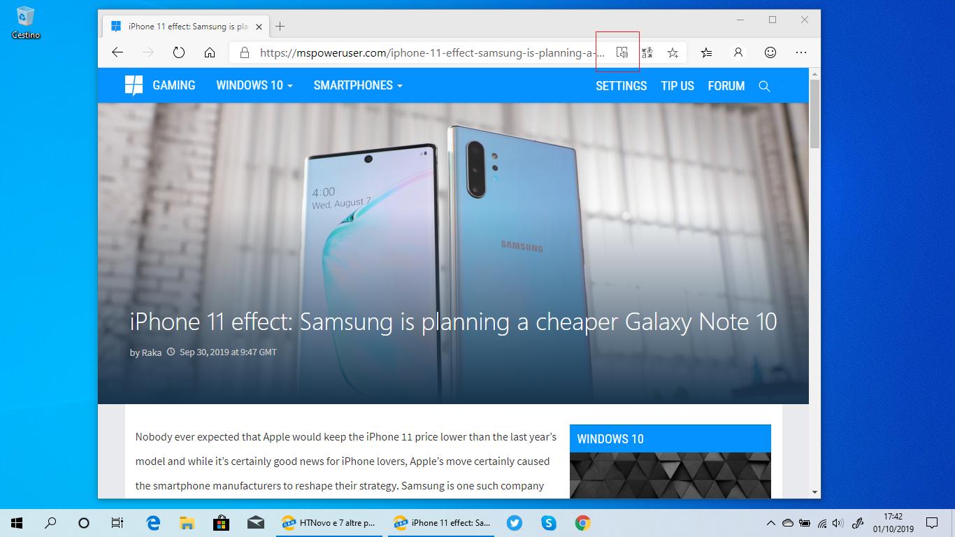 Abilitata di default la Modalità lettura nel nuovo Microsoft Edge Chromium-based