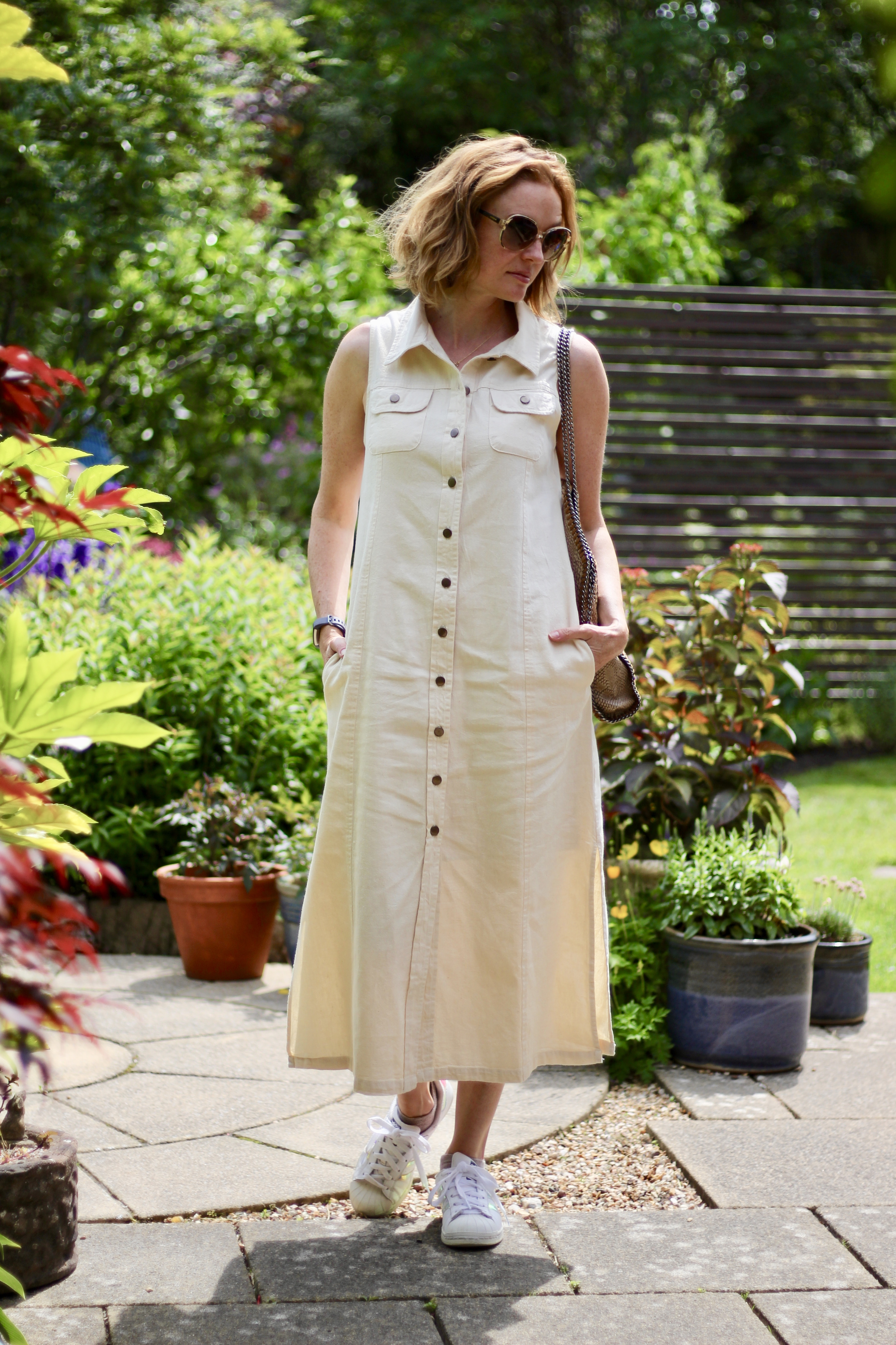 Cream Denim Maxi Dress | Fake Fabulous