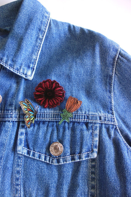 Shrinky Dinks tutorial, crafting with Shrinky Dinks, blah to TADA, handmade pins, DIY pins, Sharpie crafts, shrinking plastic crafts, toaster crafts, acrylic paint, bar pins, denim jacket, fashion accessories, brooch