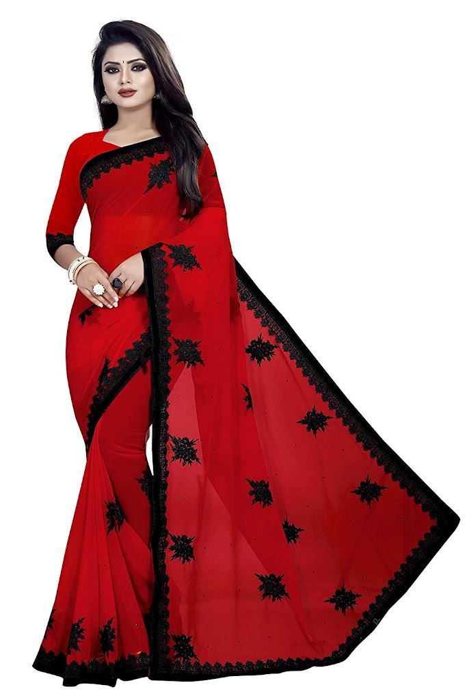 Yashvi Designer Women's Georgette Embroidered Saree with Blouse Piece(Red)