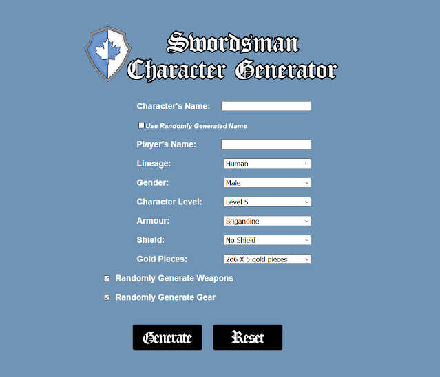 The Hero's Journey 2e Swordsman Character Generator