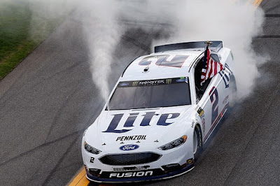 Brad Keselowski, driver of the No. 2 Ford Fusion won his first Speedweeks' race #NASCAR