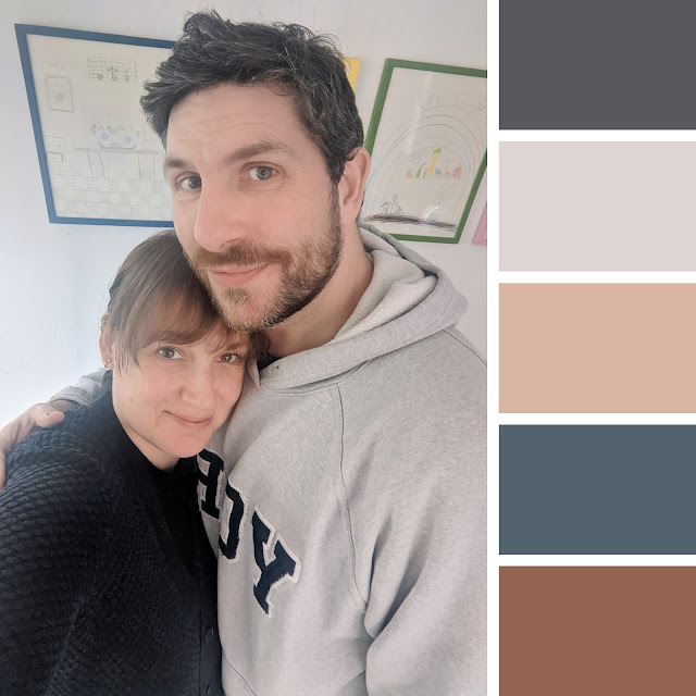 photo of couple and five colour swatches which were taken from the photograph using the Coolors website