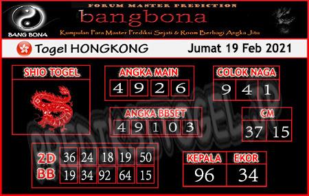 Prediksi Bangbona HK Jumat 19 Februari 2021