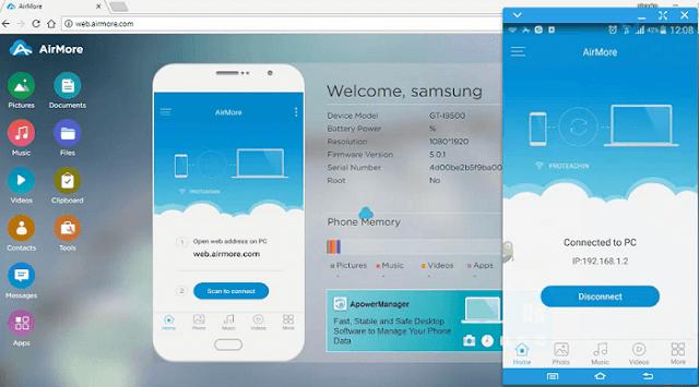 عرض وإظهار شاشة هاتف الاندرويد والآيفون على الكمبيوتر مع تطبيق AirMore