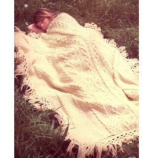 Fringed Aran Afghan Knitting Pattern from Bernat