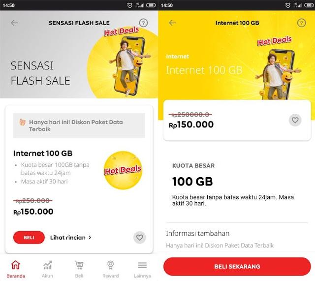 Pembagian Kuota Paket Internet Indosat 100GB 150.000