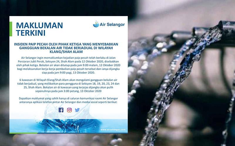 Gangguan Bekalan Air Tidak Berjadual Di Wilayah Klang/Shah Alam Bermula 9 Malam