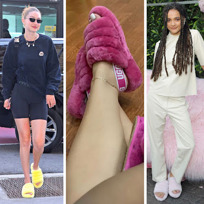 ugg fluff yeah sandal celebrity street style