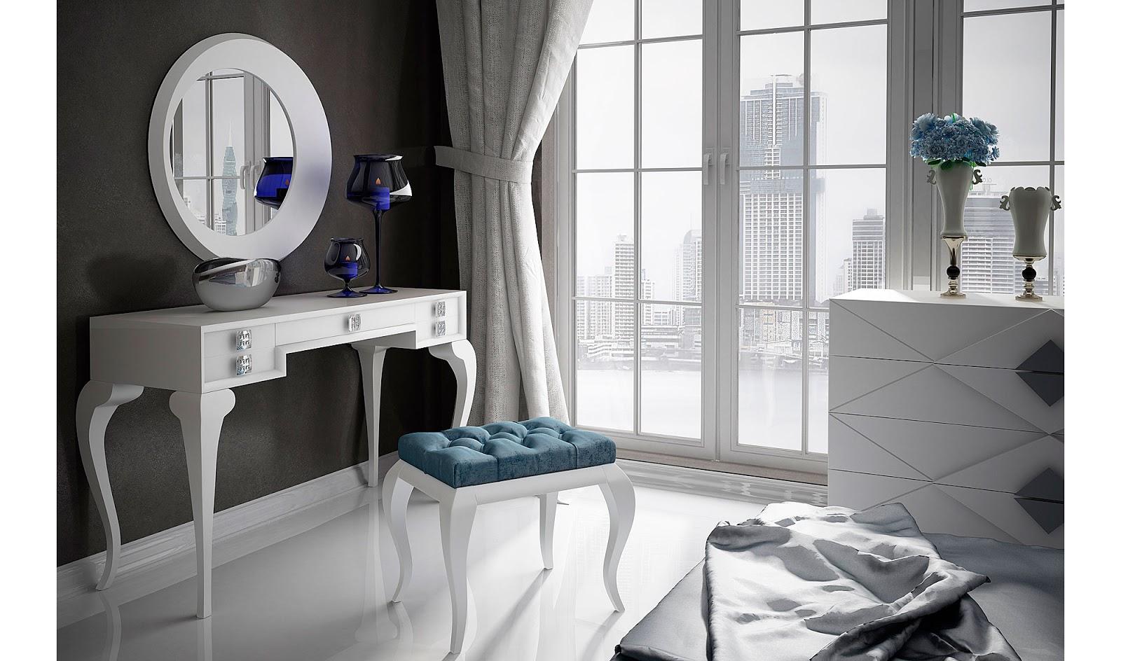 . White dressing table designs for modern bedroom