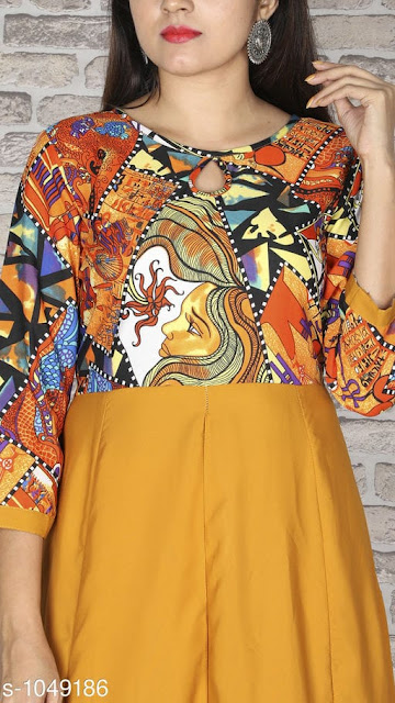 Stylish Yellow Kurti - Women Abstract Printed Crepe Kurti